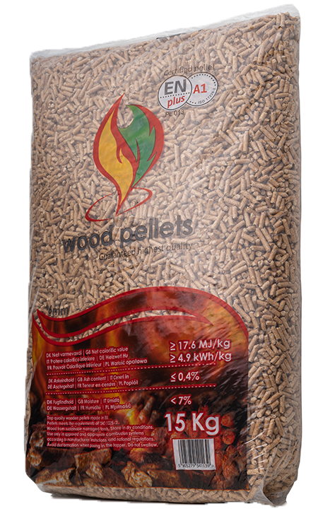 WOOD PELLETS<br><small>Pellet 6mm EN plus A1<br> Paleta <b>(975kg)</b></small>