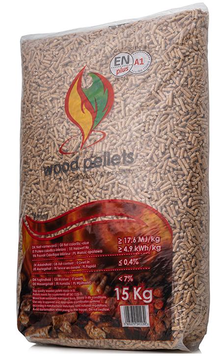 WOOD PELLETS<br><small>Pellet 6mm EN plus A1<br> Paleta <b>(975kg)</b></small>